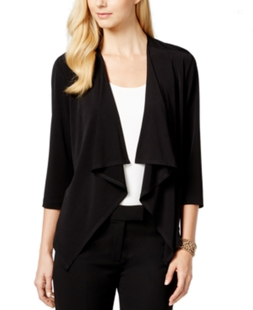 Connected Women's Draped Open-Front Sweater Jacket (PXL, Black)