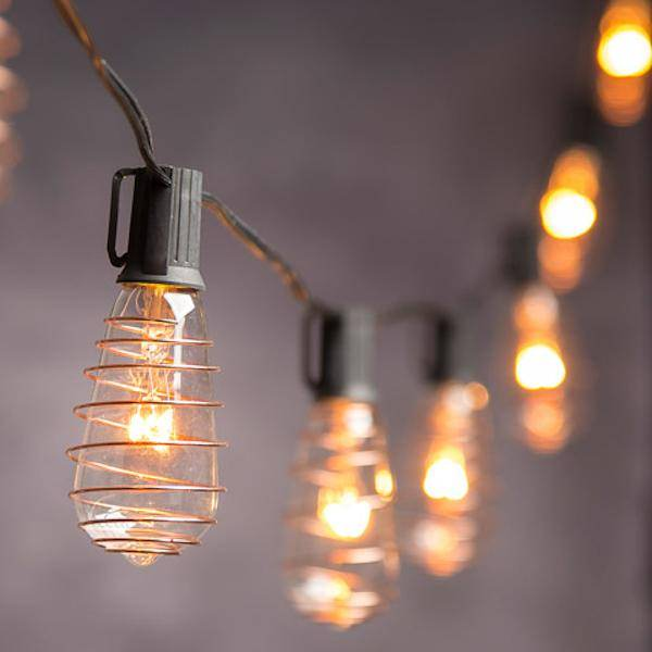 CVL Vintage String Lights with 10 Copper Plated Edison Bulbs: 10 feet