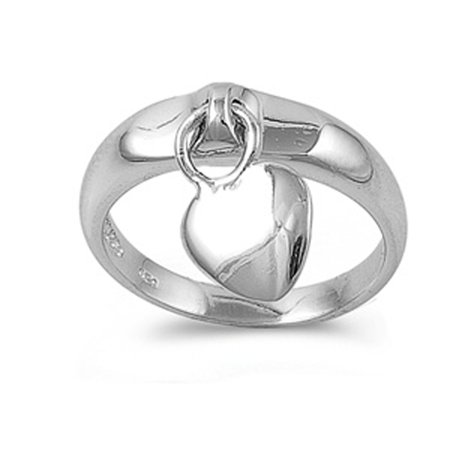 - Sterling Silver Women's Dangling Heart Charm Ring Cute 925 Band 5mm Size 5