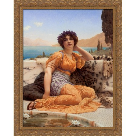 With Violets Wreathed and Robe of Saffron Hue' 28x36 Large Gold Ornate Wood Framed Canvas Art by John William Godward