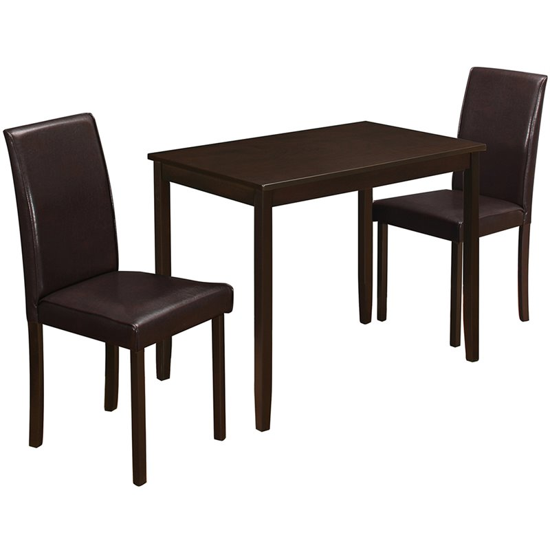 Monarch Dining Set 3Pcs Set / Cappuccino / Brown Parson Chairs