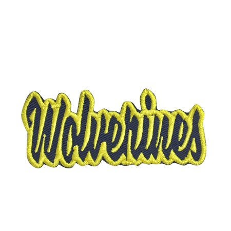 - Wolverines - Navy Blue/Yellow - Team Mascot - Words/Names - Iron on Applique/Embroidered Patch