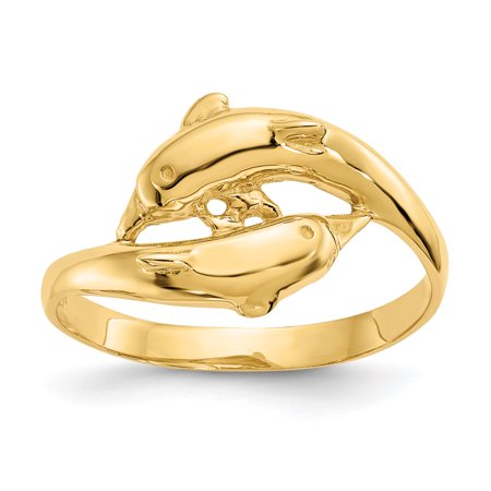 14K Yellow Gold Double Dolphins Ring - image 1 of 2