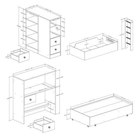 "South Shore Logik Twin Loft Bed (39""), White"