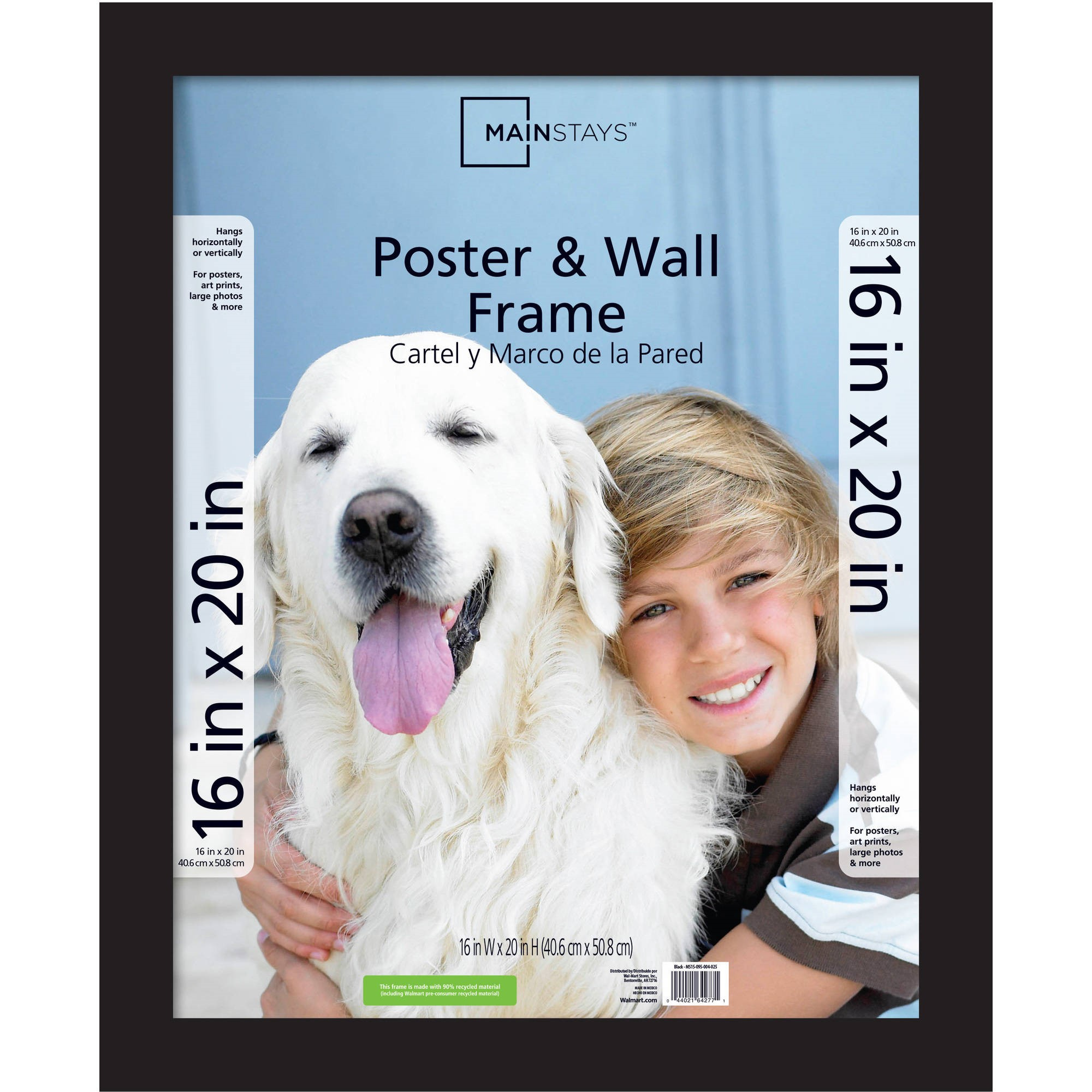 Mainstays 16x20 Wide Gallery Poster and Picture Frame, Black