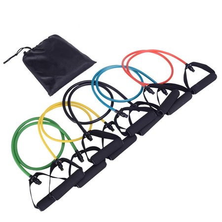 Ktaxon 5 in 1 Resistance Bands Set, Includes 5 Stackable Exercise Bands & Carrying Bag, for Ankle, Arm Training, Strengthen Muscle Workout, Stackable Up to 100