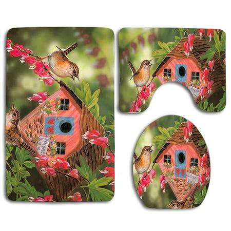 EREHome Garden Birdhouse Spring Bird 3 Piece Bathroom Rugs Set Bath Rug Contour Mat and Toilet Lid Cover - image 1 de 2