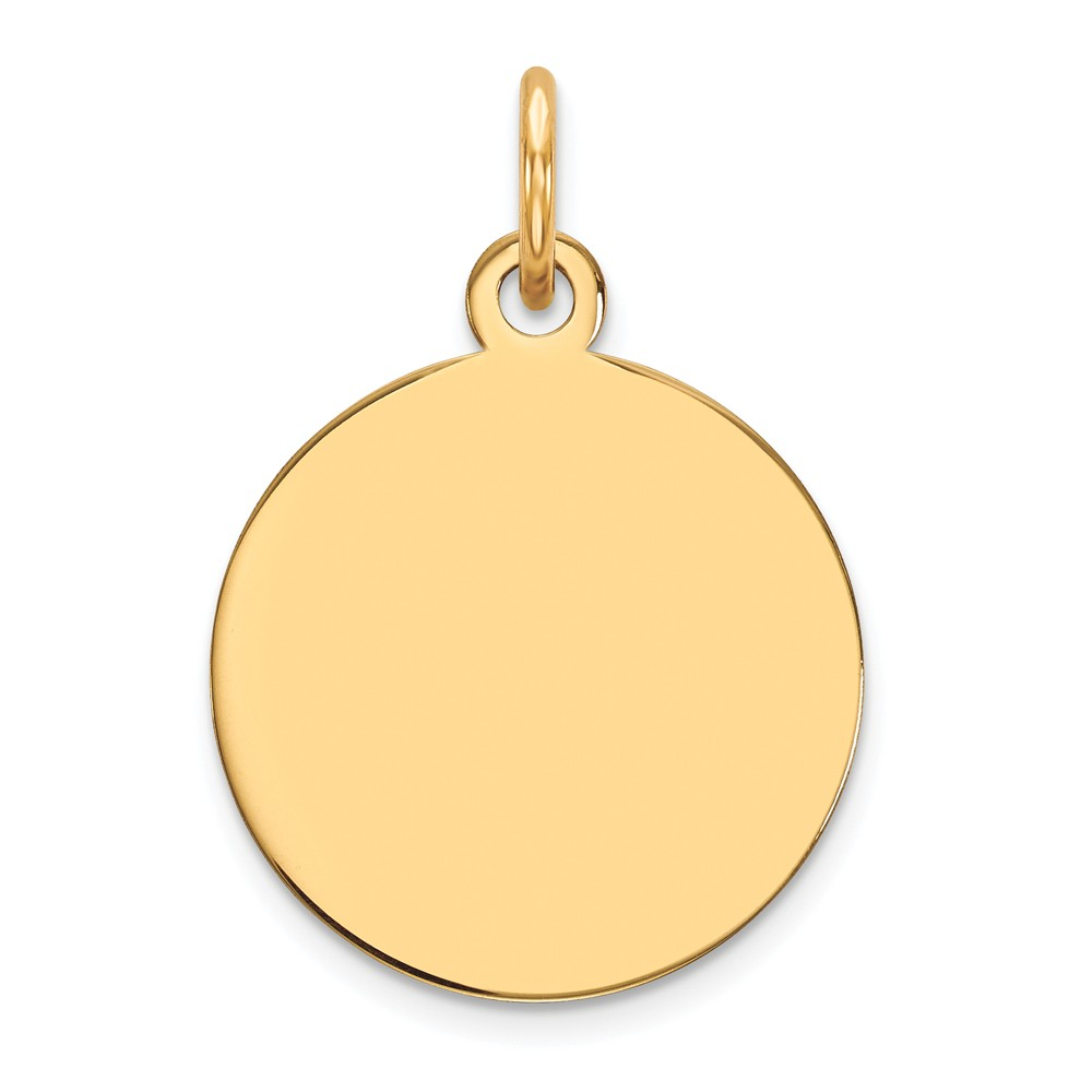 10k Yellow Gold Plain 0.013 Gauge Circular Engravable Disc Charm (0.7in long x 0.5in wide)