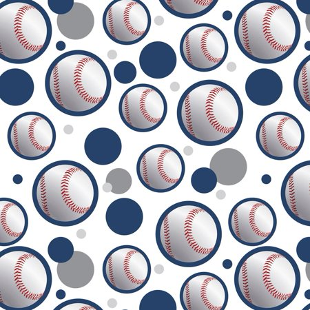 Premium Sports Patterns (Baseball Ball Sport American National Blue Premium Gift Wrap Wrapping Paper Roll)