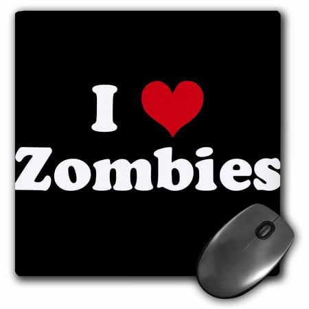 3dRose I Love Zombies, Mouse Pad, 8 by 8 inches (Best Zowie Mouse For Claw Grip)