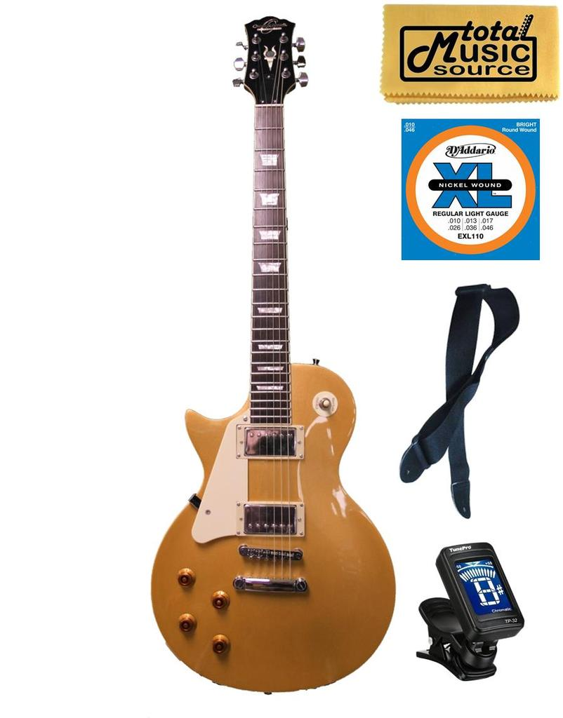 Oscar Schmidt LEFT HAND LP Style Electric Guitar, Solid Body, Gold, OE20GLH KIT by Oscar Schmidt