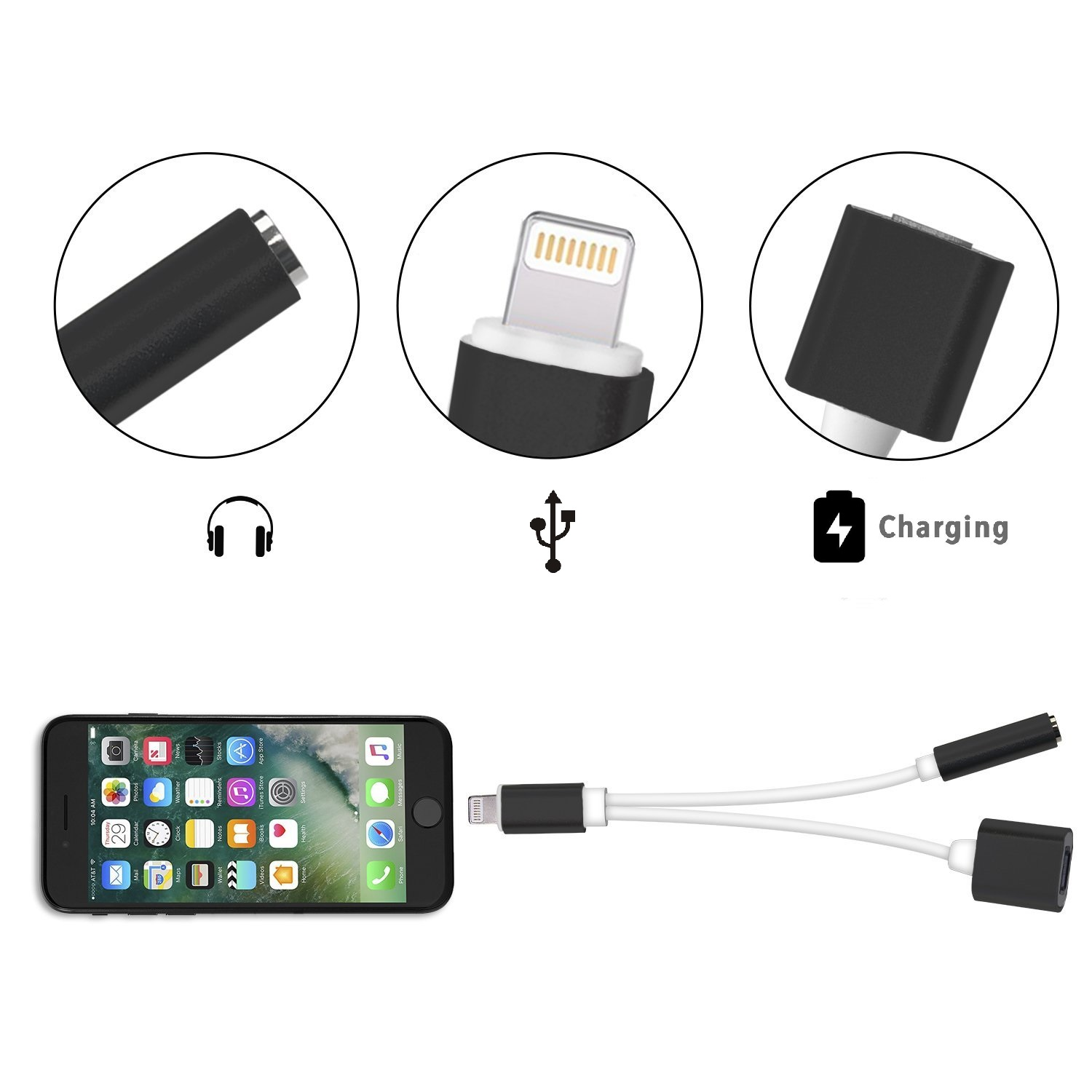 2 in 1 Lightning Adapter for iPhone 7 / 7 Plus / 6s / 6s Plus, Lightning Charger and 3.5mm Earphone Stereo Jack Cable Adapter (Black)