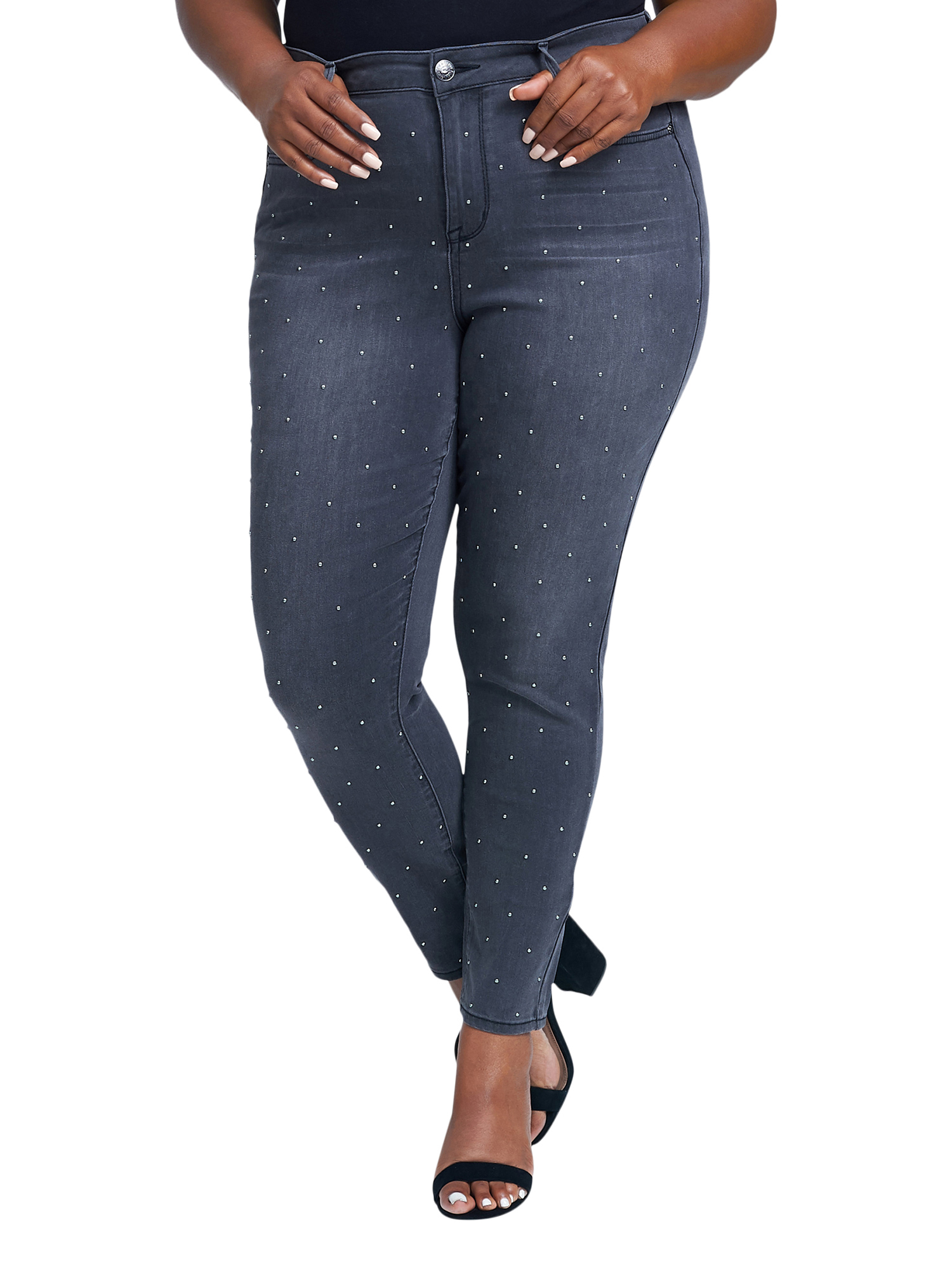 Women's Plus Size Ultra High Rise Skinny Jean with Scattered Studs