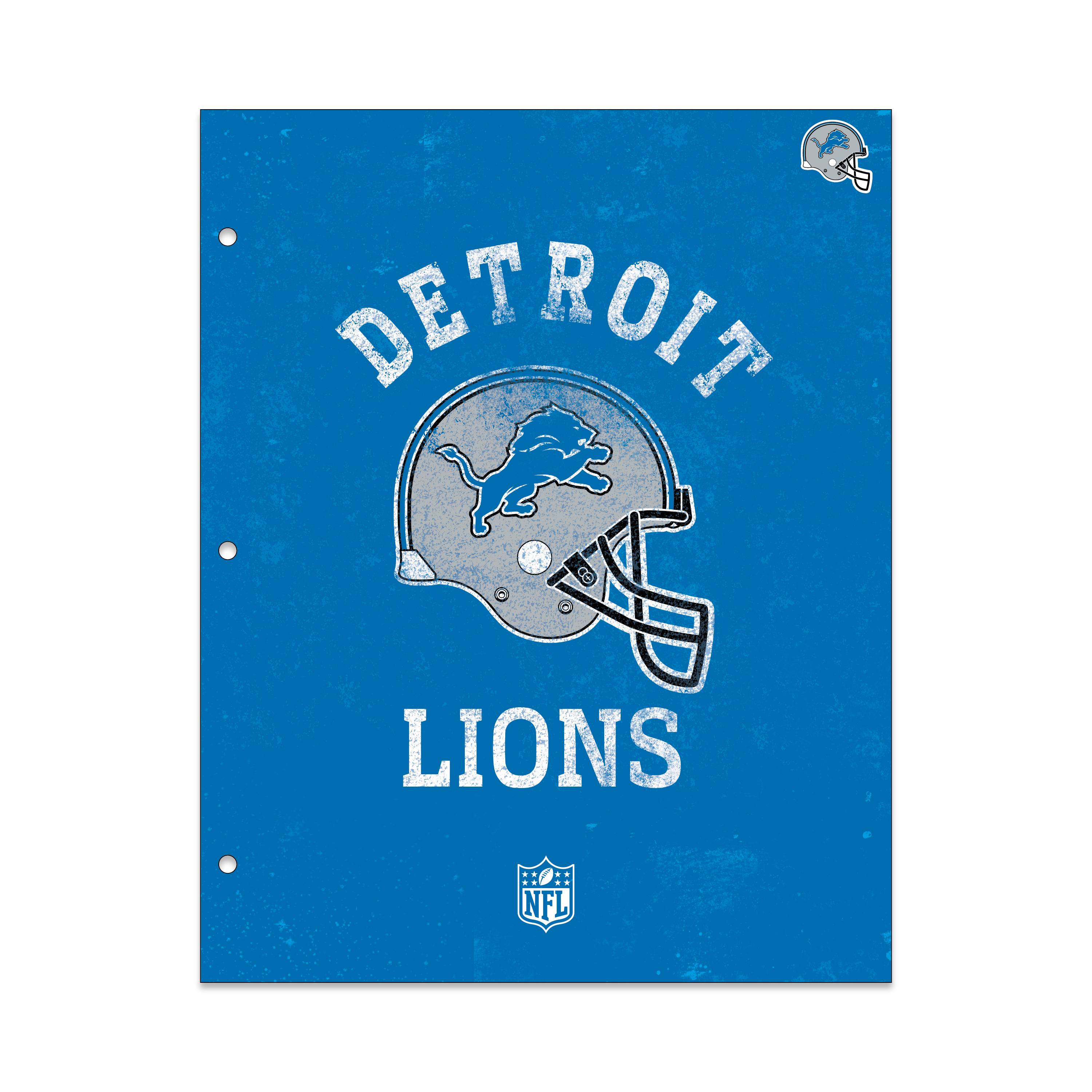 NFL Detroit Lions 2 Pocket Portfolio, Three Hole Punched, Fits Letter Size