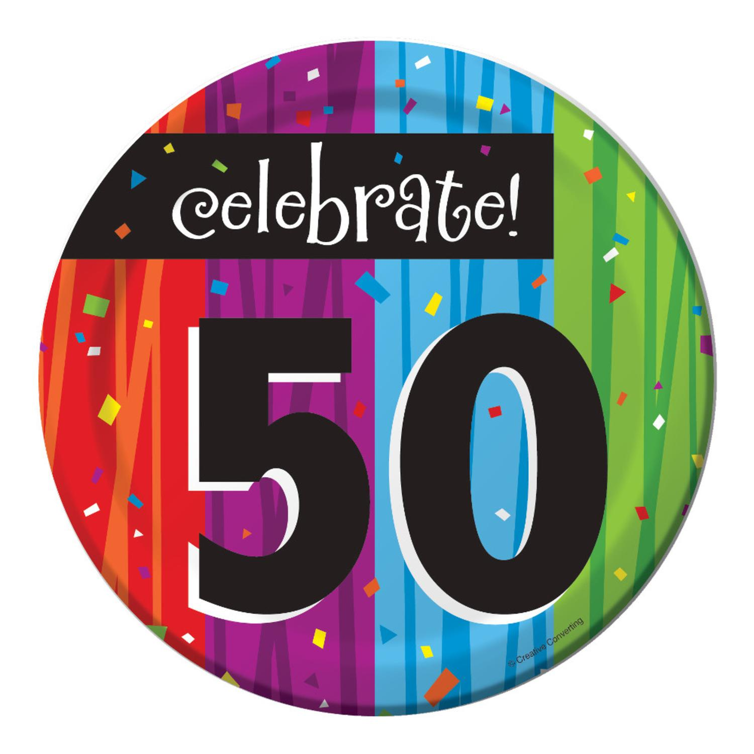 "Club Pack of 96 Milestone Celebrations ""Celebrate 50"" Disposable Paper Party Lunch Plates 7"""