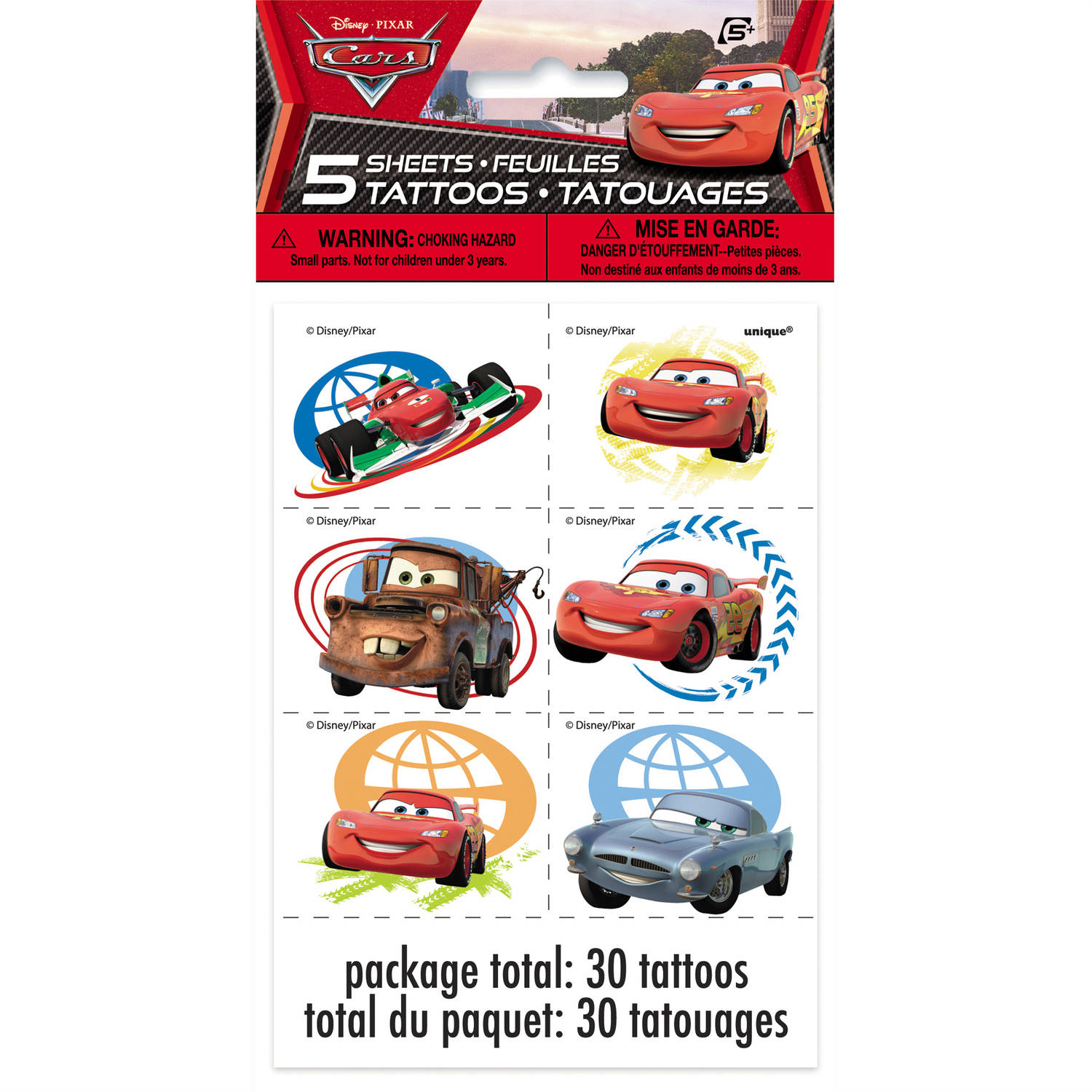 Disney Cars Tattoos, 30-Count