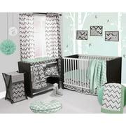 Bacati Ikat Dots/Stripes 4-Piece Crib Set with 2 Muslin Blankets, Mint/Gray