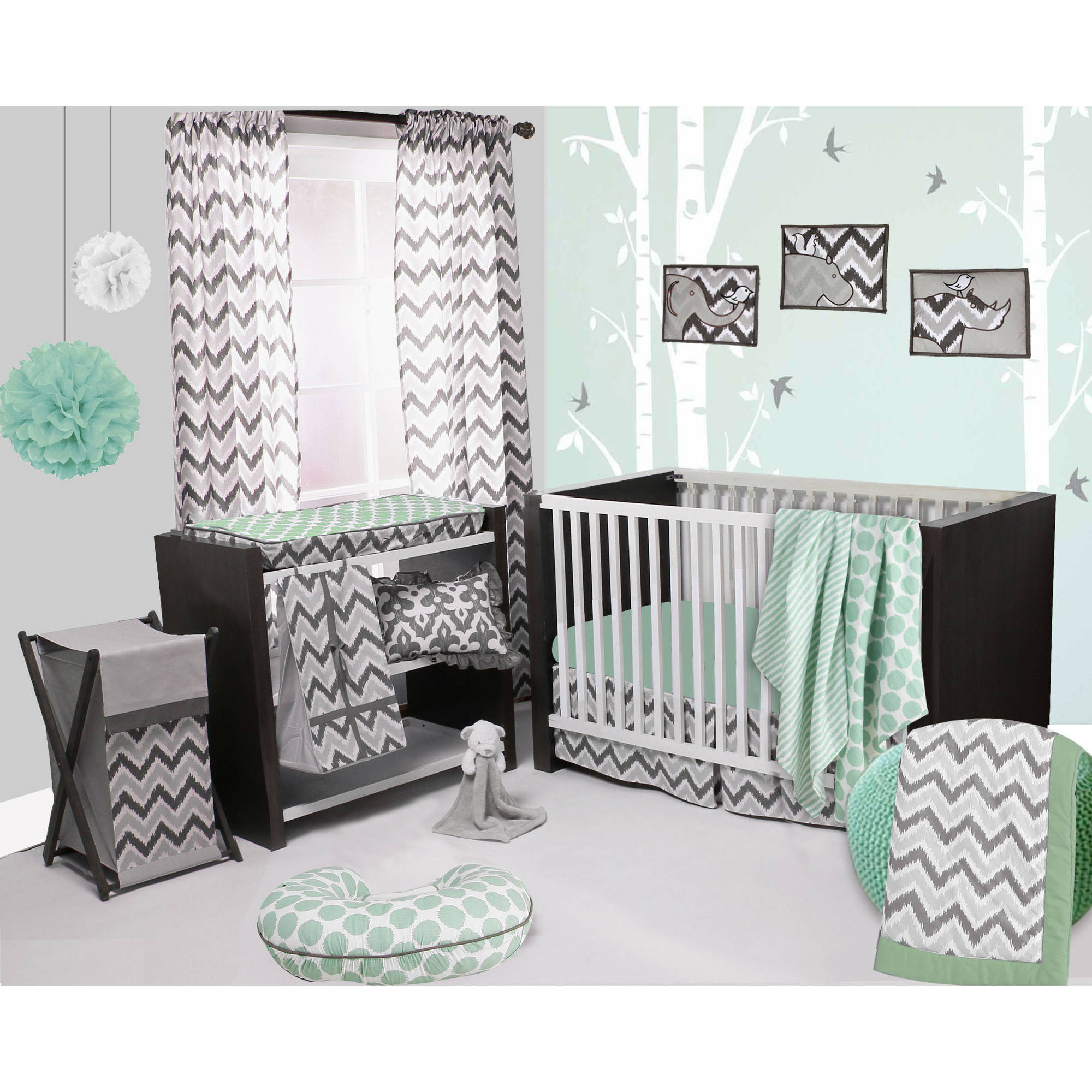 Bacati - Ikat Dots/Stripes 4-Piece Crib Set with 2 Muslin Swaddling Blankets, Mint/Gray