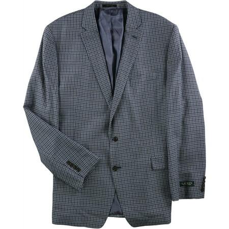 Ralph Lauren Mens Navy Check Two Button Suit, Blue, 50 Long / W x L (Check Suit Men)