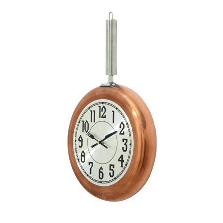 Decmode Eclectic 19 x 11 inch copper frying pan-inspired iron wall clock, Copper