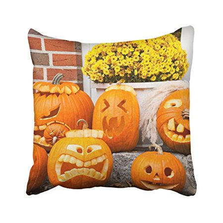 WinHome Happy Halloween Funny Pumpkins On The Stairs And Yellow Flowers Decorative Pillowcases With Hidden Zipper Decor Cushion Covers Two Sides 18x18 inches](Halloween Funny Cover Photo)