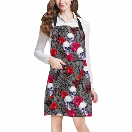 Restaurant Story Halloween Edition (ASHLEIGH Halloween Decor Skulls Red Rose Flowers and Branches Adjustable Bib Apron with Pockets Commercial Restaurant and Home Kitchen Adjustable)