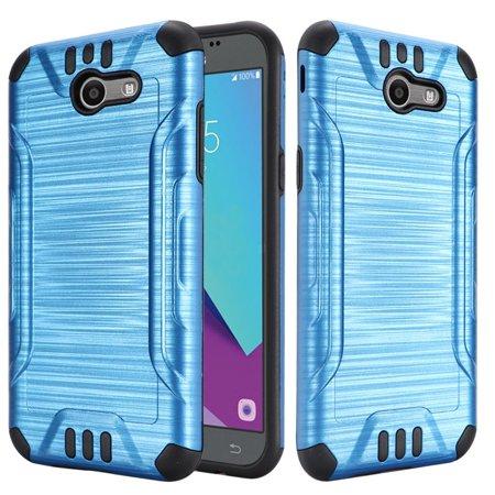 Samsung Galaxy J3 2017 Case, by Insten Slim Armor Brushed Metal Design  Hybrid Hard PC/Silicone Case For Samsung Galaxy J3 (2017) - Dark Blue/Black   