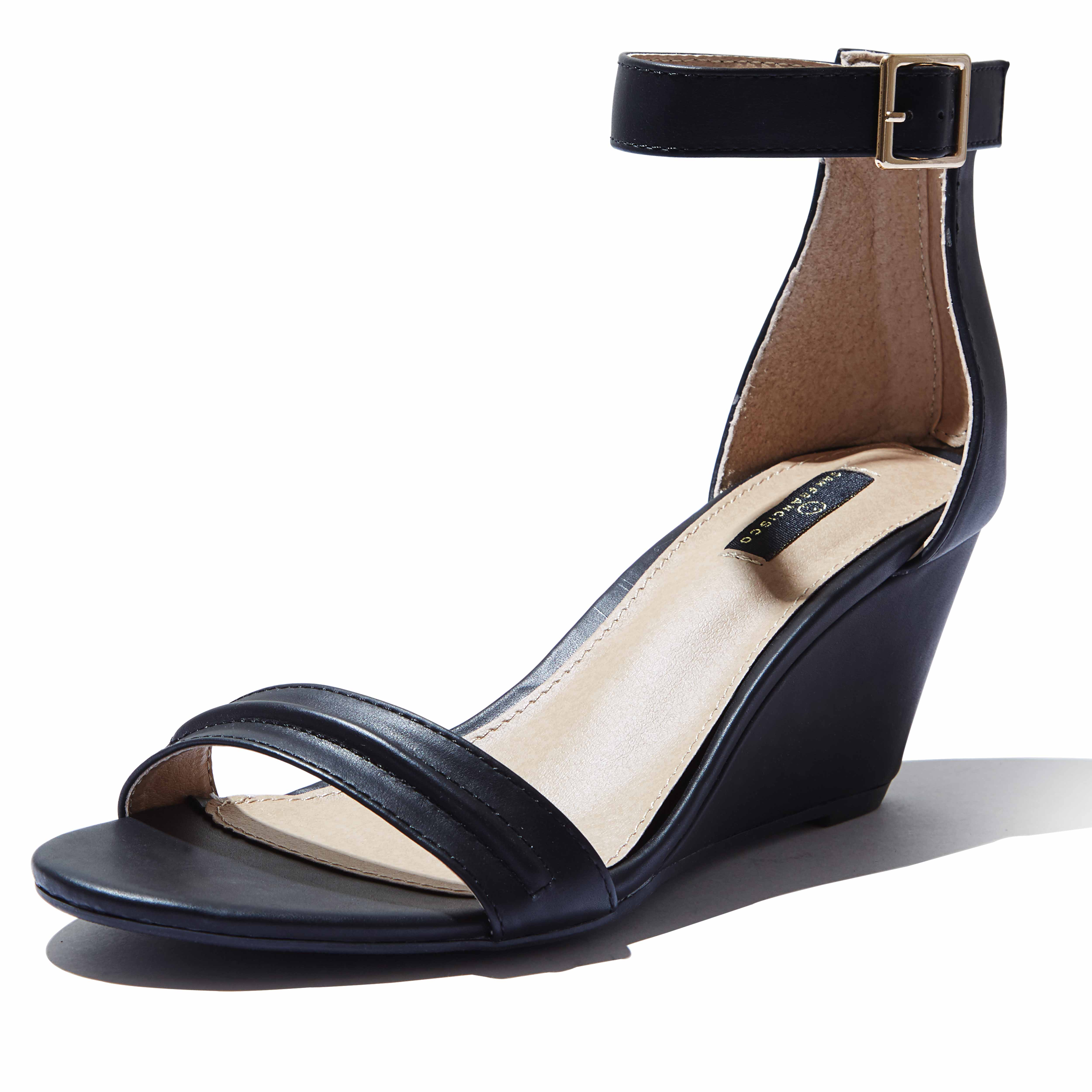 open toe wedge heels with ankle strap