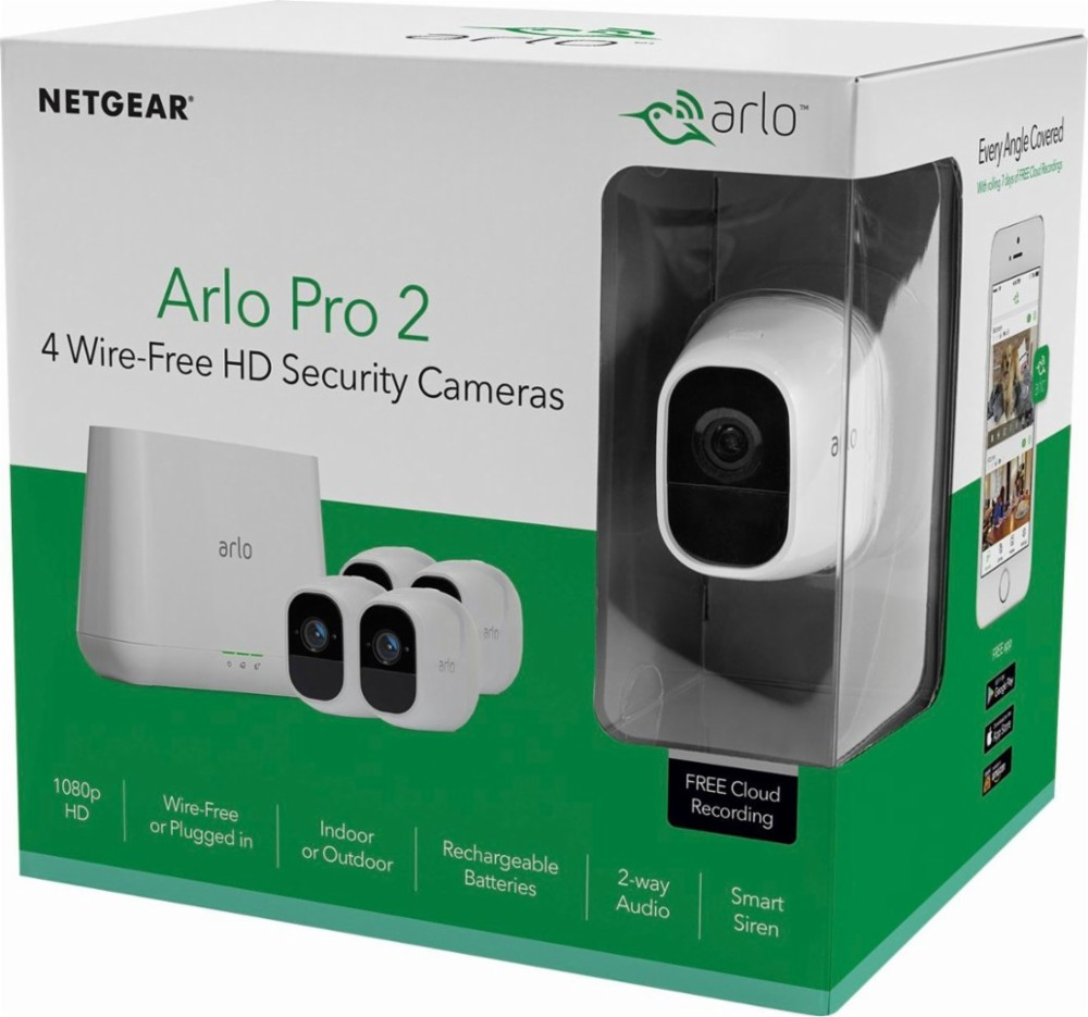 Arlo VMS4430P Pro 2 Security Camera System, 4-Camera Kit, Wire-Free, 1080p, Weather Proof, Indoor/Outdoor - White Surveillance