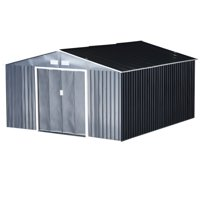 Outsunny 11.15' W x 12.5' D Metal Outdoor Utility Storage Tool Shed for Backyard and Garden - Grey