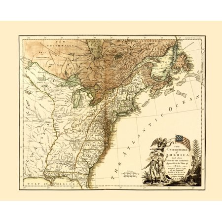 Old Revolutionary War Map   United States Of America 1783   23 X 30