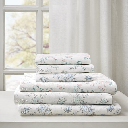Floral Cotton Garment Wash Printed 6 Piece Sheet Set Pink Queen, Set includes: One flat sheet, one fitted sheet, four pillowcases By Madison (Madison Fitted Sheet)