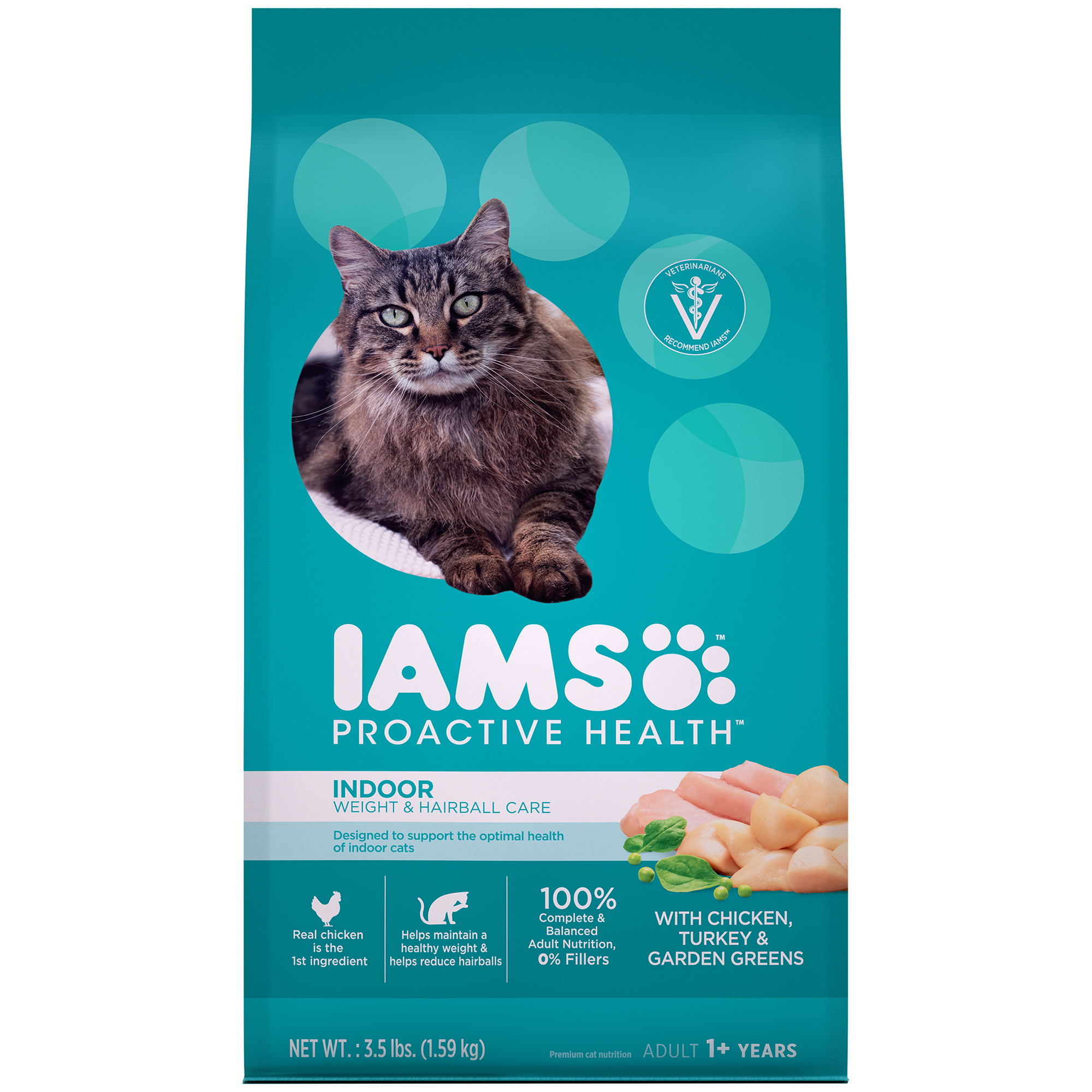 IAMS PROACTIVE HEALTH Adult Indoor Weight & Hairball Care Dry Cat Food with Chicken, Turkey, and Garden Greens, 3.5 lb. Bag