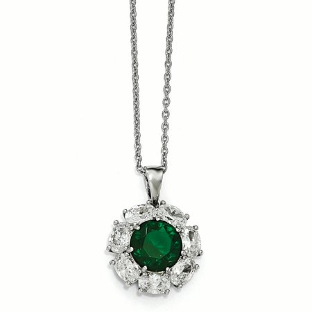 Cheryl M Sterling Silver CZ and Glass Simulated Emerald Necklace (Weight: 6.3 Grams, Length: 18 Inches) - image 2 of 2