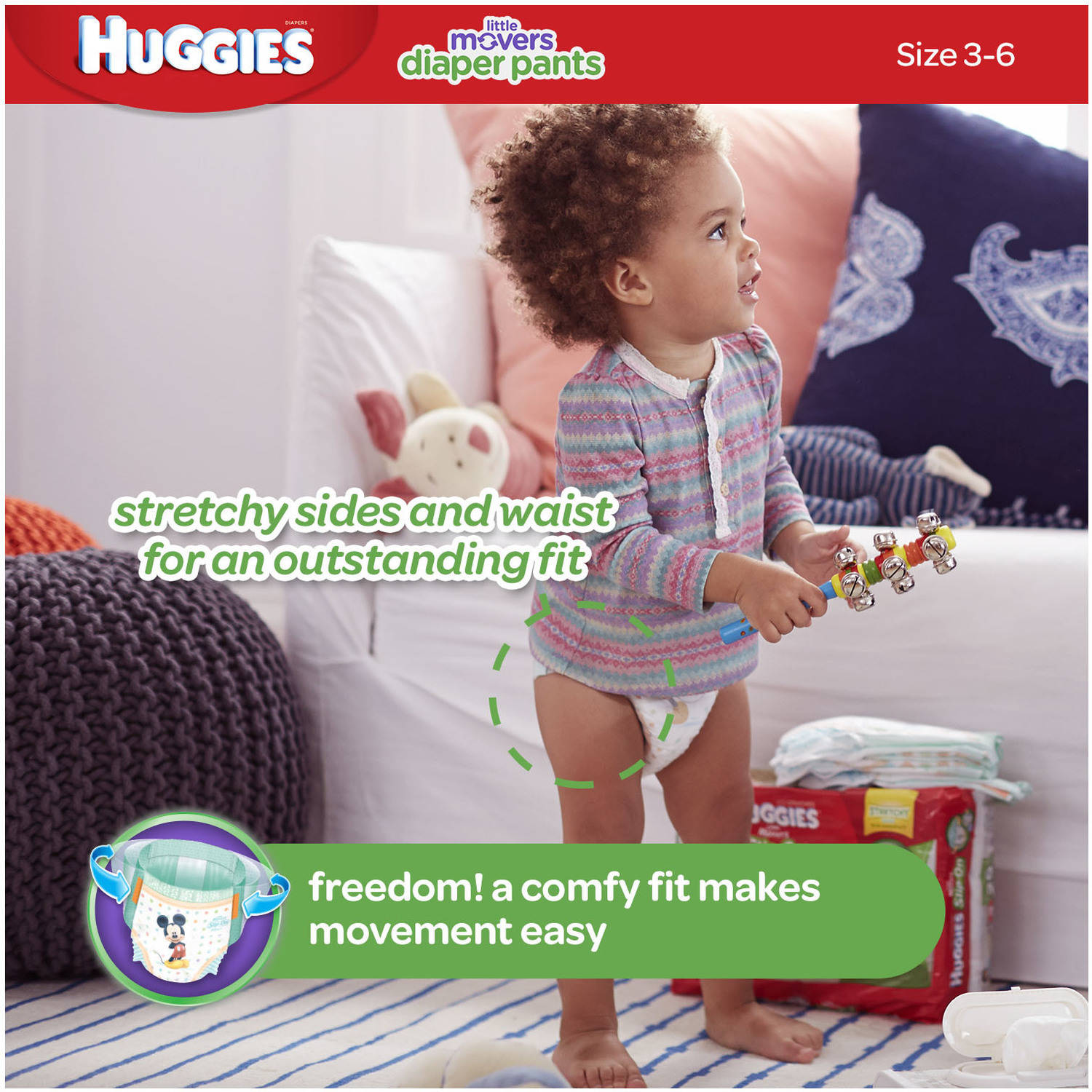 HUGGIES Little Movers Slip-On Diaper Pants, Size 4, 74 Diapers ...