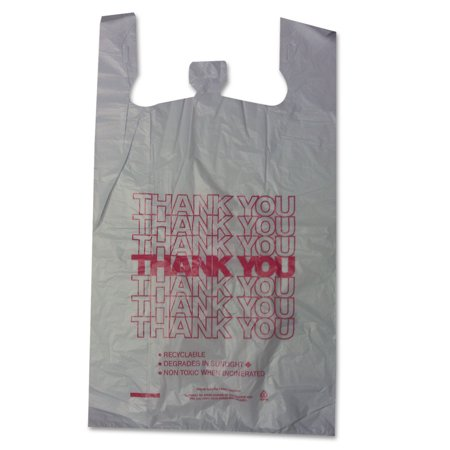 Thank You High-Density Shopping Bags, 18w x 8d x 30h, White, - Thank You Bags