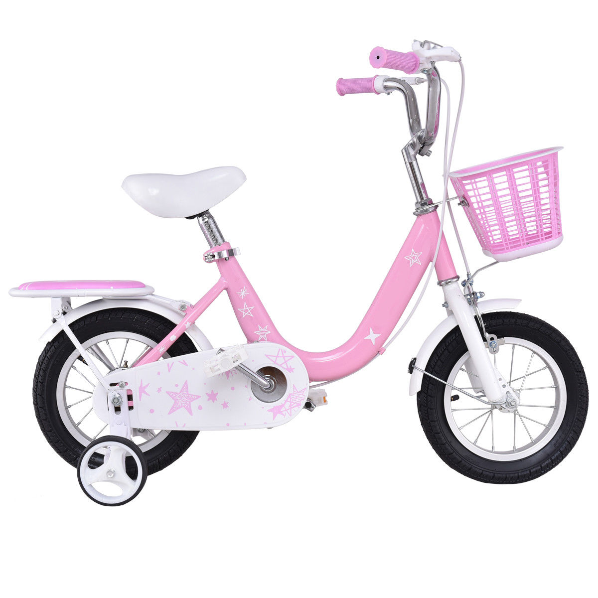 Costway 12'' Kids Bike Bicycle Children Boys & Girls with Training Wheels and Basket Pink by Costway