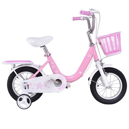 Costway 12'' Kids Bike Bicycle Children Boys & Girls with Training Wheels and Basket