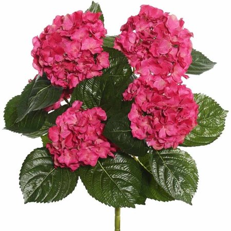 """Vickerman 17.5"""" Hot Pink Polyester Hydrangea Bush with 30 Leaves and 204 Flowers"""