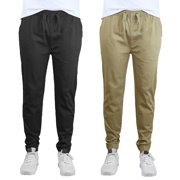 Mens Slim-Fit Cotton Twill Jogger Pants (2-Pack)