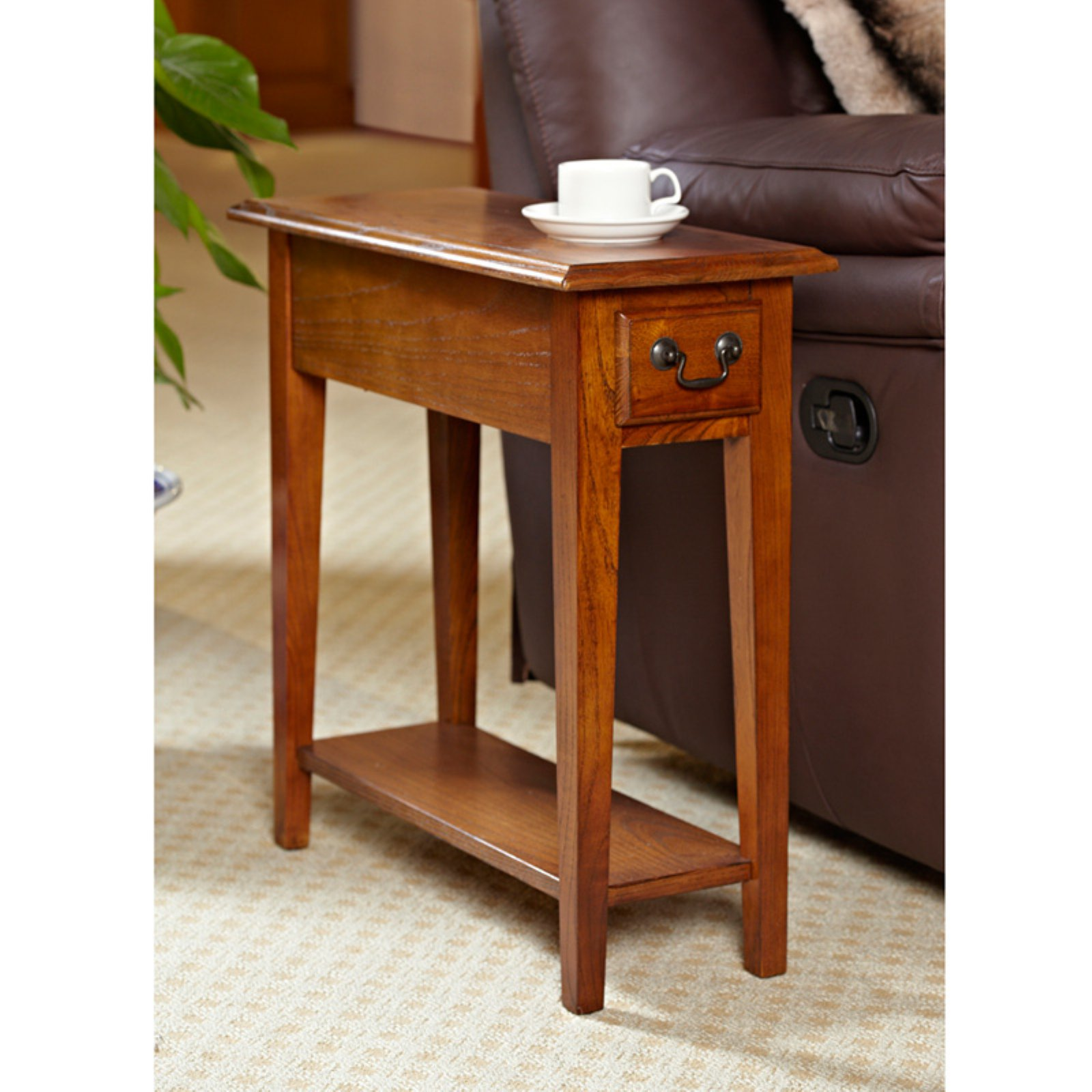 Hardwood 10 Inch Chairside End Table in Medium Oak