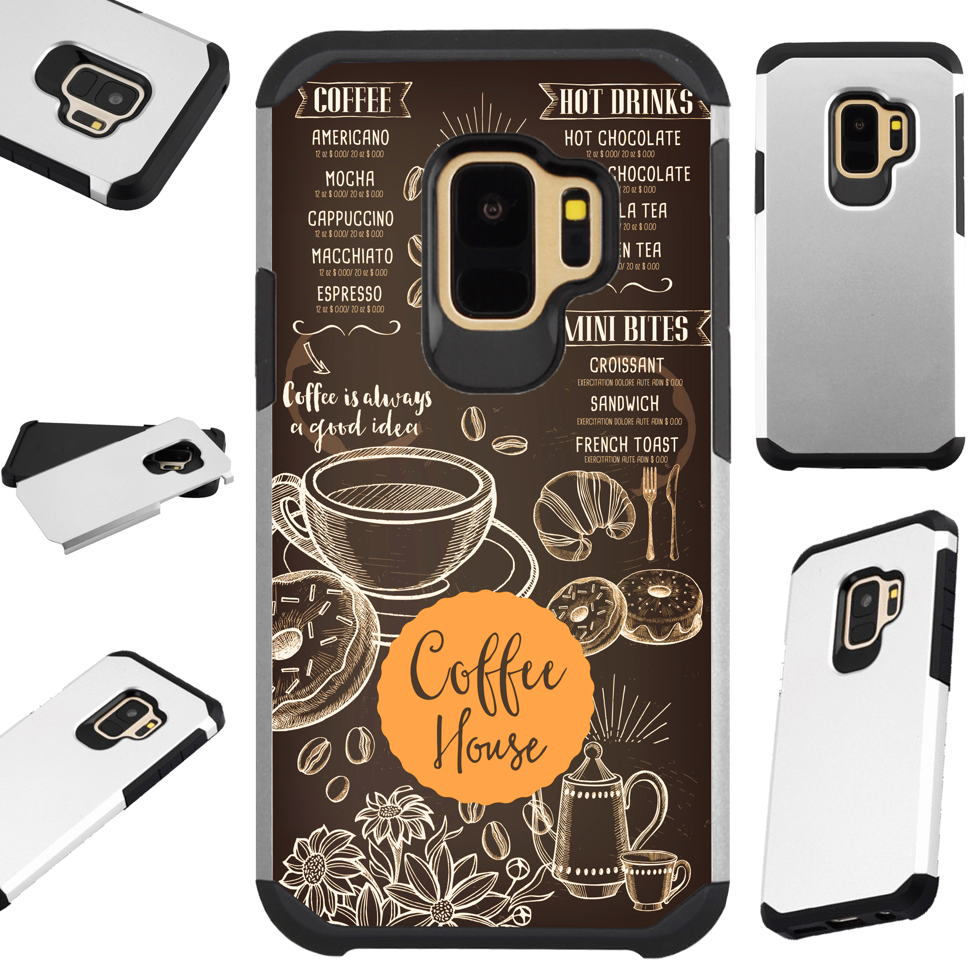 For Samsung Galaxy A6 (2018) Case Hybrid TPU Fusion Phone Cover (Coffee House)