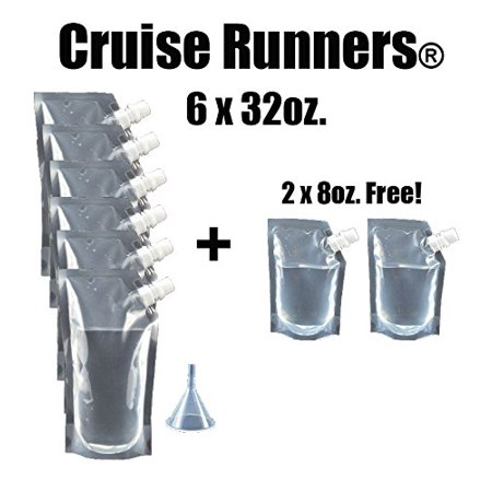 CRUISE RUNNERS Brand Ship Kit Flask 8 Pack Sneak Alcohol Runner Rum Liquor Smuggle Booze Gift (6x32 oz. + (Booze And Cruise)