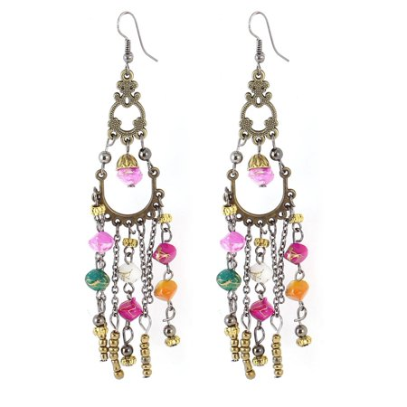 Lady Bronze Tone Metal Colorful Stone Style Beads Decor Hook Earrings Pair