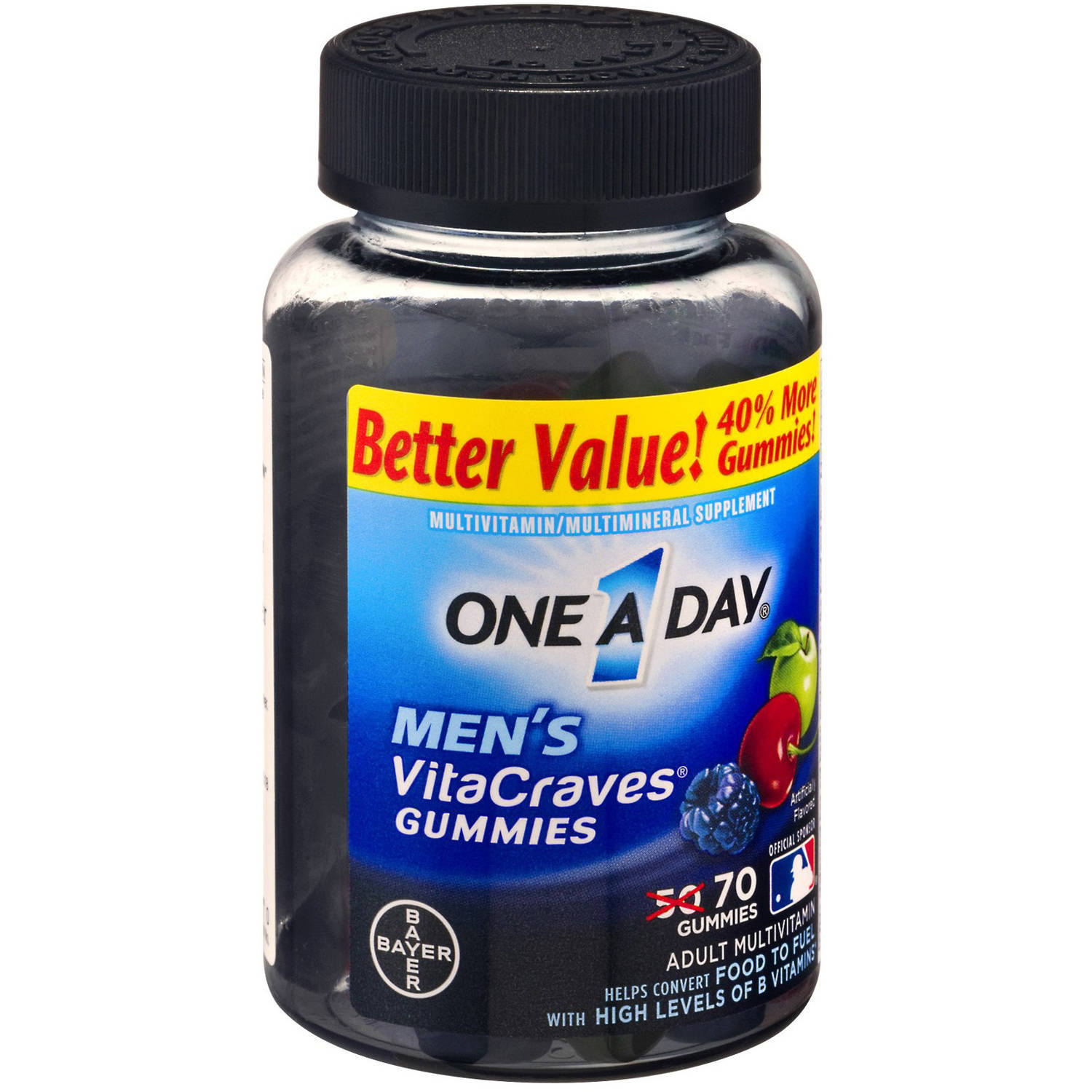 One A Day VitaCraves Men's Multivitamin Gummies Fruit, 70 CT (Pack of 4)