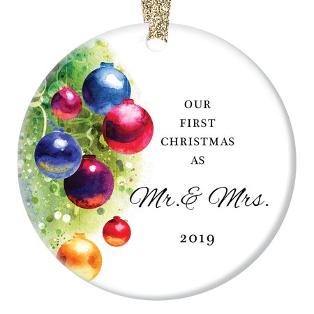Marriage Ornament 2019, Our First Christmas as Mr & Mrs, Married Man & Women 1st Xmas Wedding Present Colorful Ceramic 3