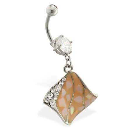 Navel Ring With Dangling Jeweled Abalone Wave Pendant