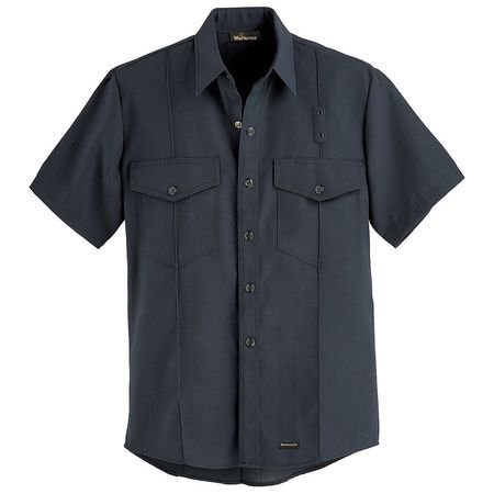 WORKRITE FR Short Sleeve Shirt,Black,46 in.,Snaps 740NX45BK