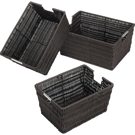 Whitmor Rattique Storage Baskets Espresso Set of 3