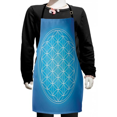 Geometry Kids Apron, Flower of Life Grid Pattern Consisting of Types Overlapping Circles Theme, Boys Girls Apron Bib with Adjustable Ties for Cooking Baking Painting, Blue White, by Ambesonne